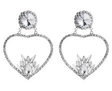 Azalea Huge Rhinestone Big HEART Earrings Catwalk Designer Shourouk Style