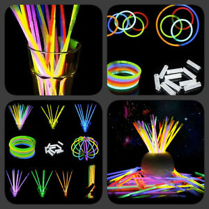 """25pcs x 8"""" Glow Sticks Bracelets Necklaces Party Favours Neon Colour Kids Toy"""