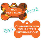 Orange Camo Double Sided Pet Id Dog Tag Personalized for Your Pet