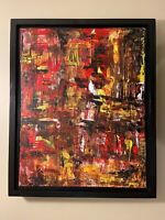 Red Yellow & Black abstract original modern acrylic canvas painting 16x20