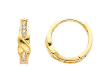 14K Real Yellow Gold Small Round CZ Huggies Earrings for Baby and Children
