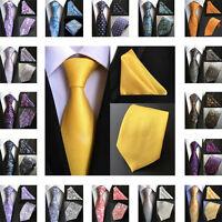 Classic Mens 8cm Silk Tie Pocket Square Set Floral Party Handkerchief Neck Ties