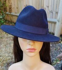 f3235cbd562 Debenhams - 100% WOOL FRENCH NAVY BLUE FEDORA TRILBY HAT size S fits 54