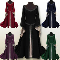 Womens Renaissance Medieval Maxi Dress Ladies Gothic Witch Fancy Cosplay Costume