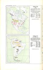Carte Amérique du Nord Etats-Unis Canada Mexique/Sud Brésil Bolivie GRAVURE 1891