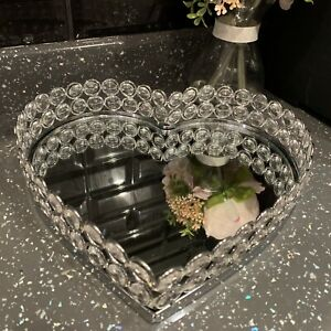 25cm JEWELLED DIAMANTE HEART MIRROR TRAY HEART CANDLE PLATE  WEDDING TABLE TRAY