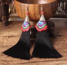 Earring Boho Festival Party Boutique Uk Black Luxury Long Drop Tassel Fashion