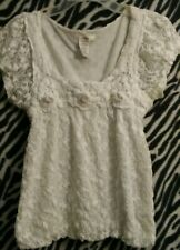 Sophie Max Cap Sleeve White Crochet with Lining Pullover Top