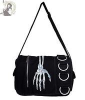 BANNED SKELETON HAND MESSENGER BAG goth HANDBAG emo shoulder BAG BLACK