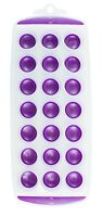 HOT PURPLE Ice Cube Tray Easy Pop out Maker Plastic Silicone Top Mould 21 Jelly