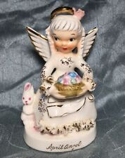 Napco Ceramic Japan April Angel Figurine With Bunny And Basket Of Eggs Vintage
