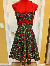 PINUP COUTURE Black Fit/Flare Pinup Rockabilly 50s Halter Dress, Cherries, Small