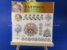 US SELLER Indian-Mehndi Henna inspired Golden metallic temporary tattoo sticker