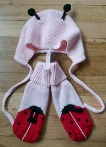 NWT HANNA ANDERSSON LADYBUG SWEATERKNIT BOOTIES AND HAT SET 5/7 SHOE, S 1-3 HAT