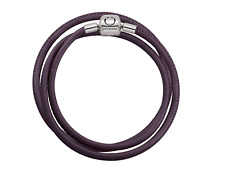 PERSONA Purple Nappa Triple Wrap Leather Charm Bracelet Sterling H13176B1-03