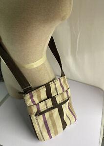 Thirty-One Purple Twill Stripe Crossbody Bag Purse