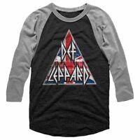 OFFICIAL Def Leppard Union Jack Triangle Men's Raglan Shirt Rock Band Merch Top