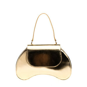 RRP €765 SIMONE ROCHA Laminated Leather Satchel Bean Bag HAMDMADE in Italy