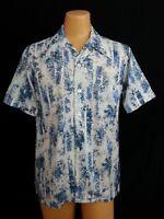 Vtg 70s Don Loper CA Duke Hollywood Shirt White Blue Abstract Hippy Pimp Disco L