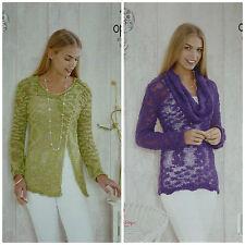 Knitting Pattern Da Donna Cappuccio Collo & V-Neck Wrap Maglione OPPIO 4476 King Cole