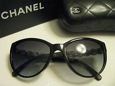New AUTHENTIC CHANEL 5215Q  C501/3C  BLACK & WHITE LEATHER W/CHAIN Sunglasses