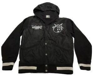 The Hundreds HUGE Embroidered Atom Bomb Hooded Black Varsity Jacket Mens Small