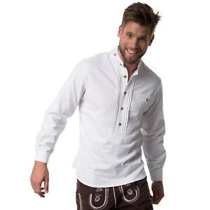 Männer Trachtenhemd Langarm Hemd Oktoberfest Wiesn weiß Biesen traditionell neu