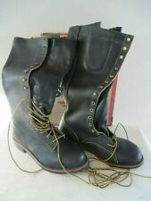 New listing Vintage Knapp Leather Steel Toe Tall Safety Shoes Boots Size 9D