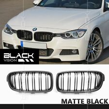 Matte Black Dual Slats Twin Fin Front Mesh Nose Grille FOR BMW F30 F31 2012-2016