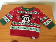 NEW Disney Store Mickey Mouse Holiday Sweater Pullover Baby Toddler Boy Red
