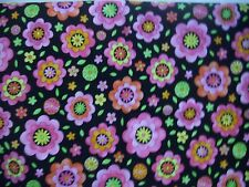"""Fabric Traditions  PINK FLOWERS ON BLACK  Cotton Fabric From 2005  2 Yards32""""X44"""