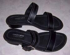COMFORT PLUS By PREDICTIONS Black Open Toe Sandals Womens Shoe Size 7M EUC