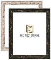New Vintage Distressed Effect Walnut Photo Frames Shabby Wood Effect Black Frame