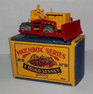 1950s.Matchbox Lesney 18 a Caterpillar Bulldozer.MINT IN BOX.all Original
