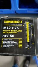 Thunder Bolts Hex Head  Concrete Screw Fixing Anchor - M12x75mm - Box of 50