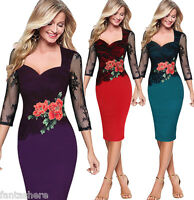 Elegant Women Bodycon Floral Embroidered Lace Evening Party Midi Dress PLUS SIZE