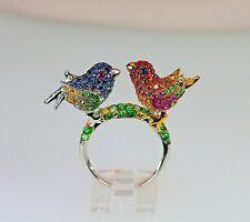 Green Garnet Ruby Love Twin Bird Ring 18k Multi Gem Shaded Ruby Blue Sapphire