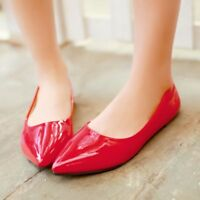 Hot Fashion Womens Patent Leather Flat Heels Pointy Toe Shoes Slip On Loafers SZ