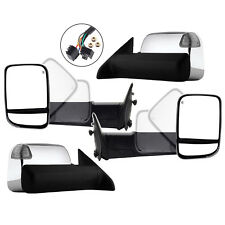 New Set of 2 Power Heated FlipUp Chrome Tow Mirror with Signal for Ram 2009-2012