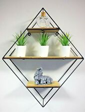 Diamond Shaped Metal Wall Shelf Retro Wall Mounted Hanging Display Unit Unique