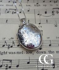 """Vintage Inspired Large Sterling Silver Engraved Oval Locket Necklace 18"""" 20"""""""