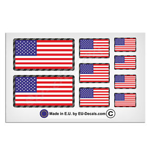 9X USA American flags Carbon Fiber outline Laminated Decal Stickers racing style