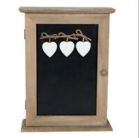 Rustic Wooden Key Cupboard wall Cabinet box Heart Chalkboard Message Blackboard