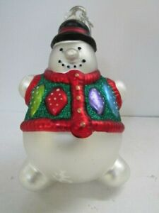 Hand Blown Mercury Glass ROLY POLY SNOWMAN Large Ornanment Dept 56