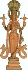 "RARE Master Fine Vishnu Standing 5 Snake Top Statue 12.5""Brass God Figure 3.9KG"