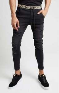 Sik Silk Mens Washed Black Designer Skinny Elasticated Waist Distressed Jeans