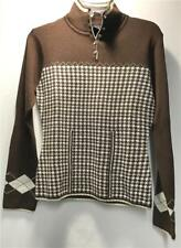 Nils Sasha Womens Midlayer Resort Wear Sweater Brown Gold Size Small NEW