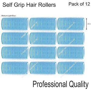 Soft Self Grip Cling Hair Curling Rollers MEDIUM LIGHT BLUE 28mm Pack 12