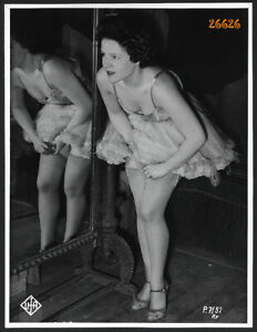 Larger size UFA Photograph, movie star dancer in nylon stockings, mirror reflect