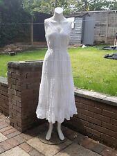 White Long Cotton Dress Size 14 Roman. Hippie Boho